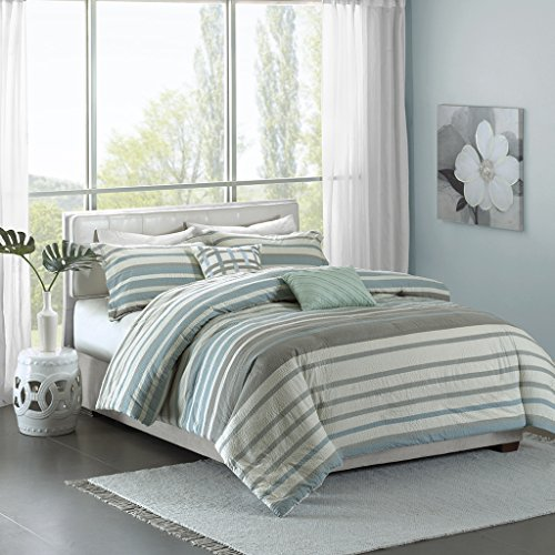 Madison Park Pure Neruda Duvet Cover Full/Queen Size - Aqua Blue, Striped Duvet Cover Set – 5 Piece – 100% Cotton Light Weight Bed Comforter Covers