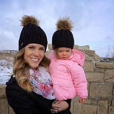 Buy Generic Grey   2Pcs set New Warm Baby Knited Cap Women Mother Child  Winter Knit Beanie Fur Pom Hat Crochet Ski Cap Parent-child Red White Hats  Online at ... 5323465cb6
