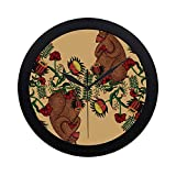 WBSNDB Modern Simple Hand Paintedbear Plays in The Flowers Pattern Wall Clock Indoor Non-Ticking Silent Quartz Quiet Sweep Movement Wall Clcok for Office,Bathroom,livingroom Decorative 9.65 Inch