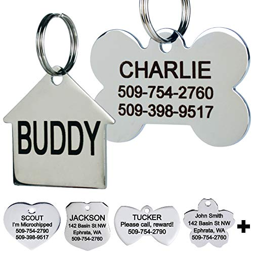 GoTags Stainless Steel Pet ID Tags, Personalized Dog Tags and Cat Tags, up to 8 Lines of Custom Text Engraved on Both Sides, in Bone, Round, Heart, Bow Tie, Flower, Star and More (Doghouse, Regular) from GoTags