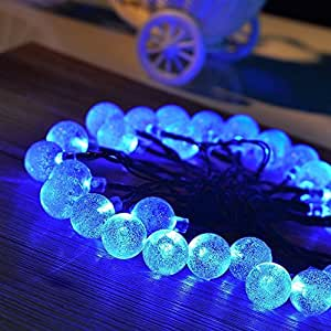 Solar Powered String Lights Outdoor Globe Christmas String Lights 29.5ft 50 Led Crystal Ball Decoration for Garden, Patio, Christmas Trees, Wedding, Party and Holiday Decoration, Blue