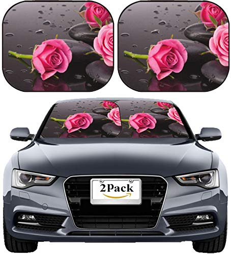 MSD Car Sun Shade Windshield Sunshade Universal Fit 2 Pack, Block Sun Glare, UV and Heat, Protect Car Interior, Image ID: 24288592 Spa Stone and Rose Flowers Still Life Healthcare Concept