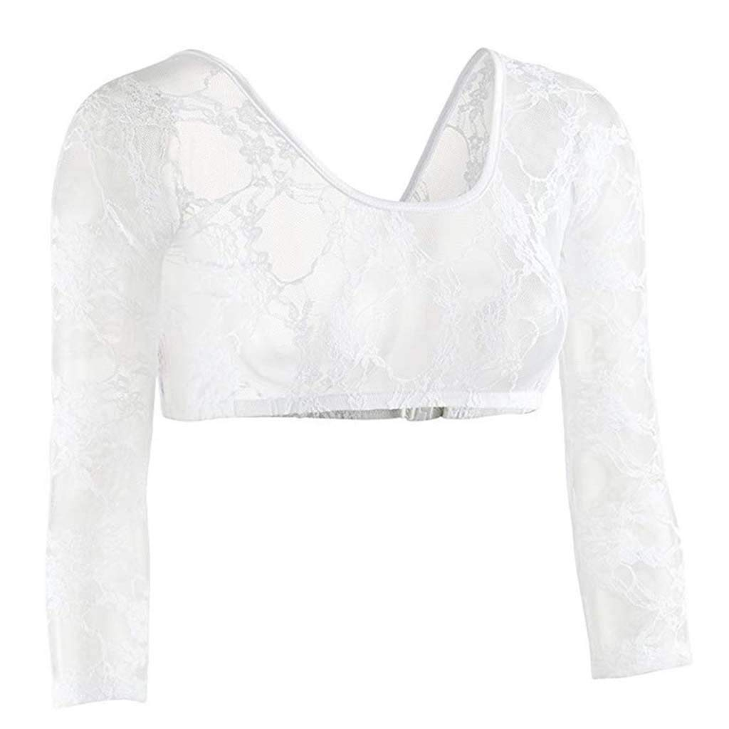 Ocean Seamless Arm Shaper Sleevey Wonders Womens Lace V-Neck Perspective Cardigan