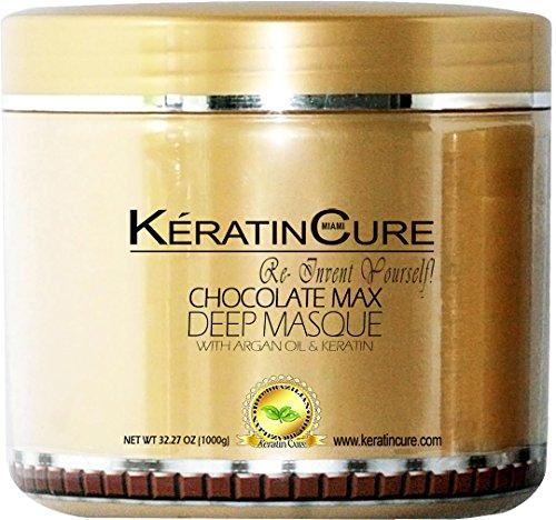 Aria Chocolate (KERATIN CURE - Deep Hair Reparation Masque 1000 g / 32 Oz Chocolate Max with Argan Oil - Shea Butter Conditioning Moisturizing Hair)