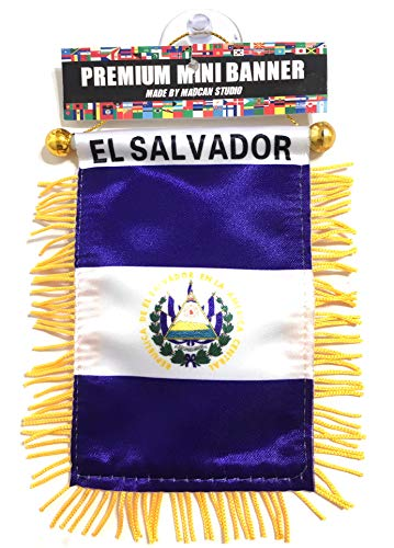 El Salvador Salvadorian Flags for car Interior Rearview Mirror or Home Sticks to Windows Glass Quick and Easy Quality Small Hanging Mini Banner Flags car Accessories (1 Flag