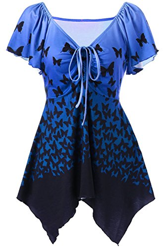 Blue Butterfly Womens T-shirt (EastLife Women's Plus Size T-Shirt Butterfly Print Lace Up Tops Empire Waist Asymmetric Tee Shirt Blouse S-5XL)