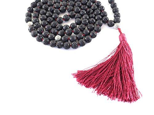 Buddhist-108-Black-Stone-Lava-Rock-Meditation-Mala-Prayer-Japa-Beads-Necklace