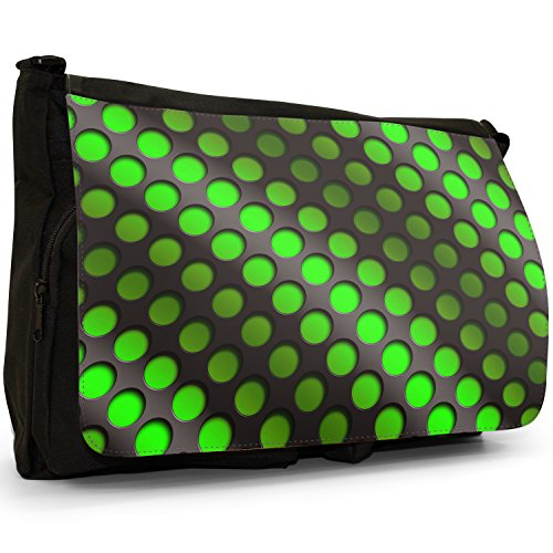 Canvas Shoulder Laptop Messenger Abstract Wave School Black 3d Bag Green Large 4YFFXnPq