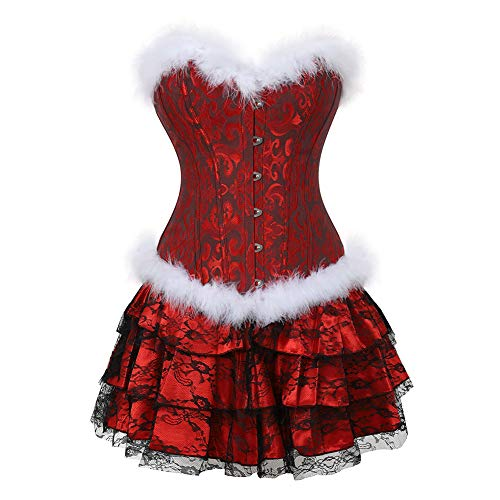 frawirshau Women's Christmas Santa Costume Sexy Corset Dress Bustier Lingerie Top with Skirt -