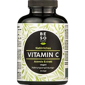 Vitamine C Naturelle BeSoHappy® à Partir d'un Extrait d'acérola (180 Capsules Pendant 6 Mois) – Ingrédients de Haute…