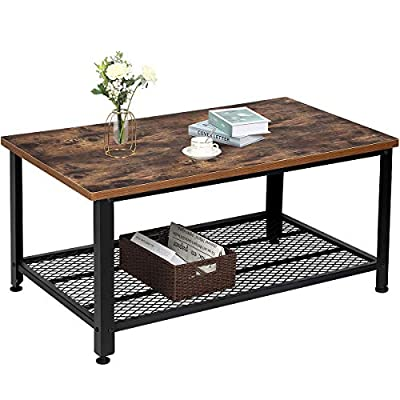 TomCare Coffee Table Rustic Cocktail Table Living Room Table with Storage Shelf MDF with Black Metal Frame Furniture Vintage Home Decor Large for Living Room Bedroom - SPACE-SAVING:The dimension for this coffee table is 41.73 x 23.62 x 17.71, that offers a large space for you to make your items better organized. With the extra space at the bottom of the iron mesh , your room will look more tidy. STYLISH DESIGN: Vintage tones, atmosphere and not flashy, revealing a touch of elegant beauty. Our coffee table also is a unique and simple home decor for your house. It is ideal for sofas, offices, living rooms, bedrooms, wherever it is, it can be combined as a wonderful decor with your room. DURABLE MATERIAL: The desktop is made of high quality MDF, which is is waterproof, dust-resistant material. Premium metal frame provides reliable and strong support for the table, making your table last longer. - living-room-furniture, living-room, coffee-tables - 51LGlONkf2L. SS400  -