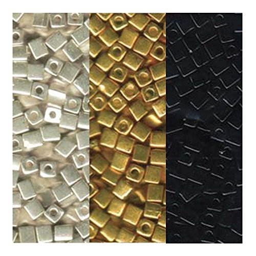 (Metallic Miyuki 4mm Square Bead Bundle: Metallic Gold, Silver and Opaque Black Cube Japanese Glass Seed Beads - 60 Grams)