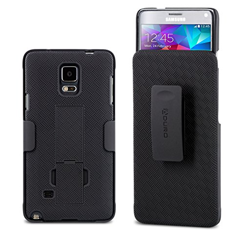 Aduro Galaxy Note 4 Case, Combo Shell & Holster Case Super Slim Shell Case w/Built-in Kickstand + Swivel Belt Clip Holster for Samsung Galaxy Note 4