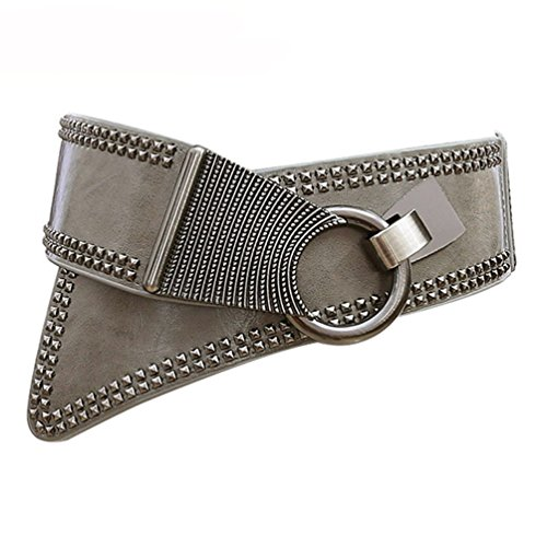 Women's Leather Wide Belt Elastic Punk Rock Grey Waistband with Studded Rivets -