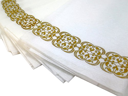 Guest Linen Decorative Hand Napkins (200 Pack, Lace) – Gold and White Fancy Bulk Cloth Like Paper Disposable Bathroom, Dinner, Wedding & Cocktail Party Towels