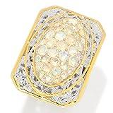 Michael Valitutti Palladium Silver Ethiopian Opal Cluster Elongated Euro Shank Ring