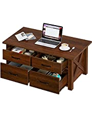 Rolanstar Coffee Table with Storage, Rustic Coffee Table with Drawers and Open Shelf, Farmhouse Central Table for Living Room, Espresso
