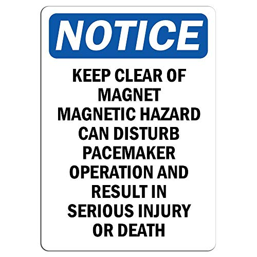 Notice Keep Clear of Magnet Magnetic Hazard Can Sign Store Sign Metal Sign for Front Door Aluminum Sign Heavy Duty Metal Tin Sign ()