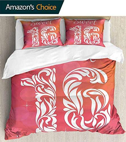 PRUNUSHOME Polyester Bedding Greeting Happy Birth Pattern with Classic Effects Artwork Dark Coral Scarlet Ultra Soft Hypoallergenic - X-Long Twin