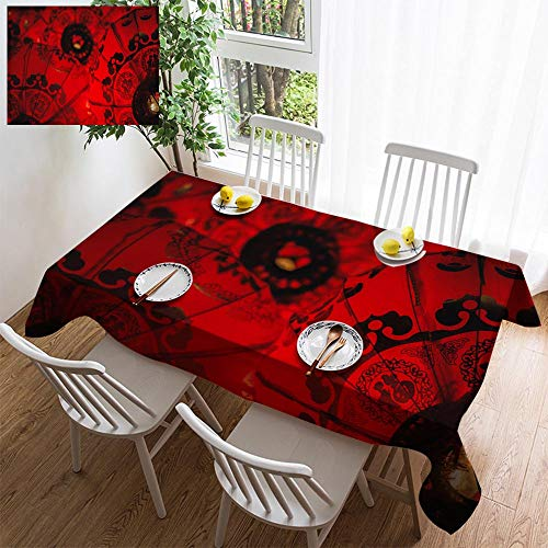 HOOMORE Simple Color Cotton Linen Tablecloth,Washable, Chinese New Year Decorating Restaurant - Kitchen School Coffee Shop Rectangular 108×54in -