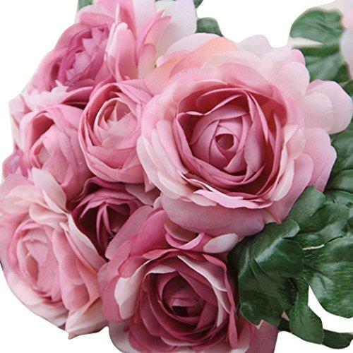 Mikey Store Artificial Silk Rose Flower Leaf Bridal Bouquet Home Wedding Decor (Purple) - Red Medium Stem Rose Bouquet
