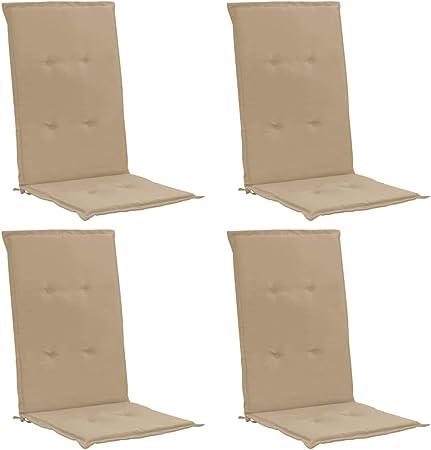 Goliraya Cojines para sillas de jardín 4 Unidades Beige 120x50x3 cm: Amazon.es: Hogar