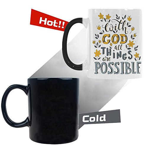 InterestPrint Christian Bible Verse With God All Things Are Possible Heat Sensitive Color Changing Coffee Mug Cup Morphing Tea Cup for Women Men Kids Mom Dad Friends, 11 Ounce