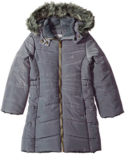 Calvin Klein Big Girls' Aerial Jacket, Dark Grey, Large (12/14) by Calvin Klein