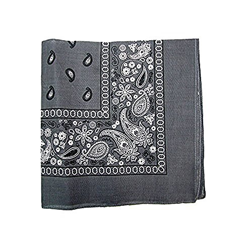 Paisley 100% Cotton Double Sided Bandana - 22 inches (Grey)
