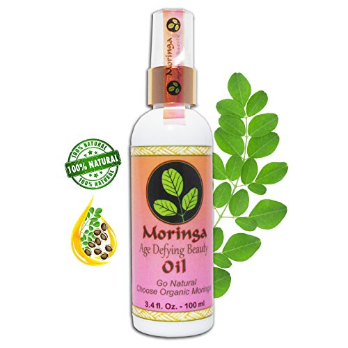 MORINGA AGE DEFYING BEAUTY OIL 3.4 oz Smooths & Nourishes Skin, Rich in Antioxidants & Nutrients, It Penetrates Deeply for Rich Benefits with Organic Moringa Oil & 14 Essential Healing Oils