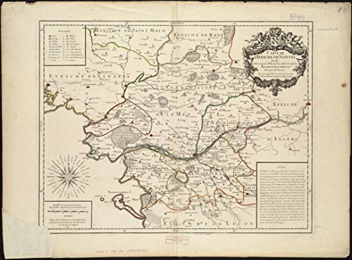 Historic Map | 1706 Carte de l'evescheI? de Nantes | Antique Vintage Reproduction by historic pictoric