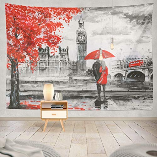 KJONG Oil Painting Canvas Street London Love Watercolor Black White Decorative Tapestry,60X80 Inches Wall Hanging Tapestry for Bedroom Living Room ()