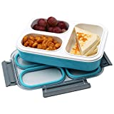 Leakproof Compartment Lunch box for Children Leakproof Bento Lunchbox, 3 Compartment Lunch Containers for Kids and Adult ,Food Storage Containers,Microwave Safe Blue