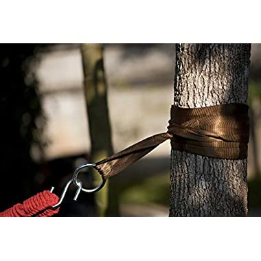 Hammock Tree Straps by Hammock Sky - Best Extra Long Hanging Straps for Camping & Travel - Heavy Duty 1200+ Lbs Capacity - Superior Polyester Material Works with All Hammocks & Larger Trees [Brown]