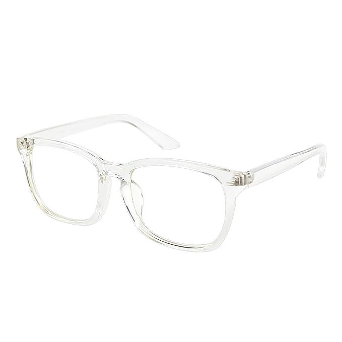 Gafas de montura transparente unisex con filtro de luz.