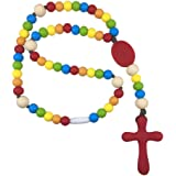 Chews Life Rainbow Rosary- Silicone Teething Rosary- Boys or Girls Baptism or Mass Toy