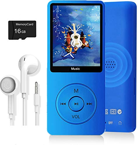 MP3 Player, Music Player with 16GB Micro SD Card, Ultra Slim Music Player with Build-in Speaker, Photo Viewer, Video Play, FM Radio, Voice Recorder, E-Book Reader, Supports up to 128GB