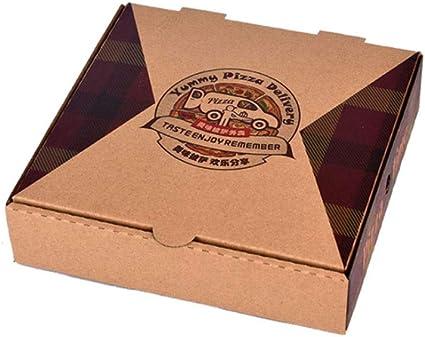 FGSJEJ Cuadro de Kraft Papel Pizza, Caja de Embalaje for Llevar, Caja de Almacenamiento de Alimentos, desechable, el cartón Grueso Corrugado, Caja de Almacenamiento de Alimentos, 7-12