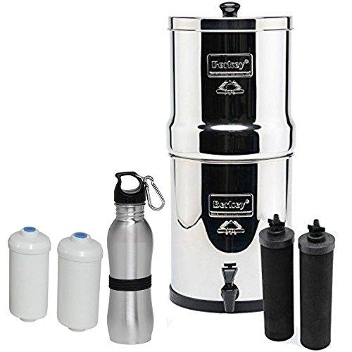 Premium Travel Berkey Water Filter Bundled with 2 Black Berkey Filters and 2 PF2 Fluoride Filters and Berkey Stainless Waterbottle by Berkey