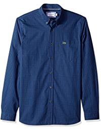 Mens Long Sleeve Reg Fit Gingham Poplin Button Down