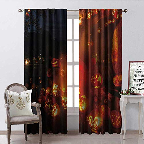 Hengshu Halloween Scary Pumpk Multicolor Thermal Insulating Blackout Curtain Blackout Draperies for Bedroom W108 x L84 ()