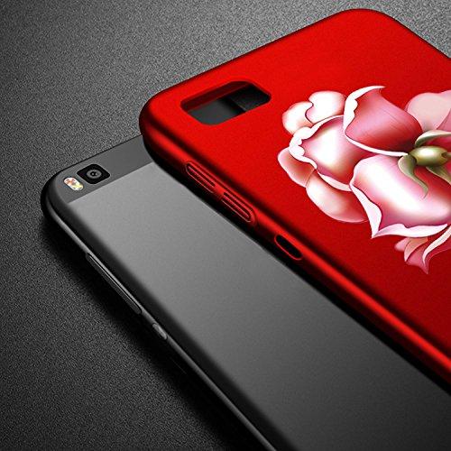 Huawei P8 Lite Funda Case, Vandot Hermosa Pintura y Elegante Dibujos Ultra Slim Mate PC Duro Cover Caso Carcasa Cubierta de Lujo Ultra delgado la cubierta Anti-Arañazos de la Hard PC Back Case Cover p Rose 02-Rojo