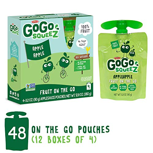(GoGo squeeZ Applesauce on the Go, Apple Apple, 3.2 oz Portable BPA-Free Pouches, Gluten-Free, 48 Total Pouches (12 Boxes with 4 Pouches Each))