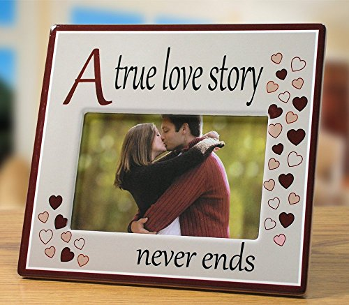 A True Love Story Never Ends Picture Frame - Red Hearts with Saying on Ceramic Frame - Anniversary Gift - Valentine's Day Gift for Her - For 4x6 Inch Photo