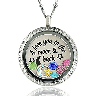 Mothers Day Jewelry Gifts, I Love You to the Moon and Back, Locket, Pendant, Necklace, Plate and Charms