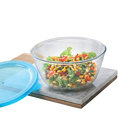 Borosil Glass Mixing Bowl with Blue lid, 1.3 L, Oven and Microwave Safe Price & Reviews
