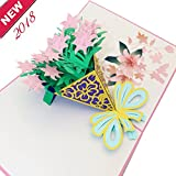 Mity Rain 3D Lily Bouquet Pop Up Card,Hand Made 3D Greeting Card,Valentine's Day Gift Card,Thanks Card,Birthday Card, Anniversary Card