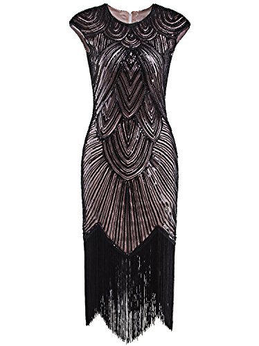 Vijiv 1920's Long Prom Dresses Beaded Sequin Art Nouveau Deco Flapper Dress, Black Pink, XL]()