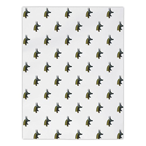 Polyester Rectangular Tablecloth,Egyptian,Head of an Indigenous Religious Figure Jackal Symbol Antiquities History Decorative,Grey Black Yellow,Dining Room Kitchen Picnic Table Cloth Cover,for Outdoor ()