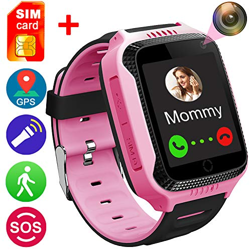 [SIM Card Included] Smart Watch for Girls Boys-July 10-22th Deals GPS Locator Pedometer Fitness Tracker Touch Camera Games Light Touch Anti Lost Alarm Clock Smart Watch Bracelet (Pink)